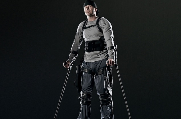 "Paul Thacker became a tester of the Ekso ""exoskeleton"" device after a snowmobile accident left him partially paralyzed."