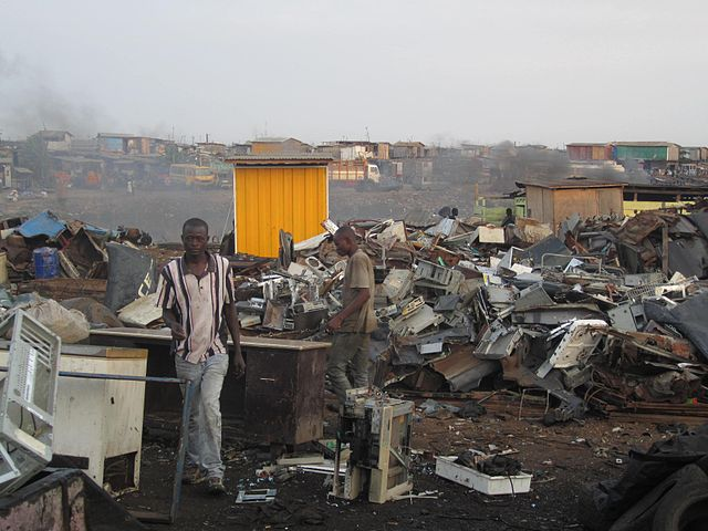 Workers in Agbogbloshie, Ghana, endure exposure to toxic compounds in order to harvest the valuable components from discarded electronics, or e-waste. Responsible recycling keeps e-waste out of places like this, where it can harm local people and ecosystems.