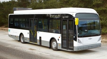 In Germany, a pair of buses like this one run on electricity without needing to plug in for a charge.