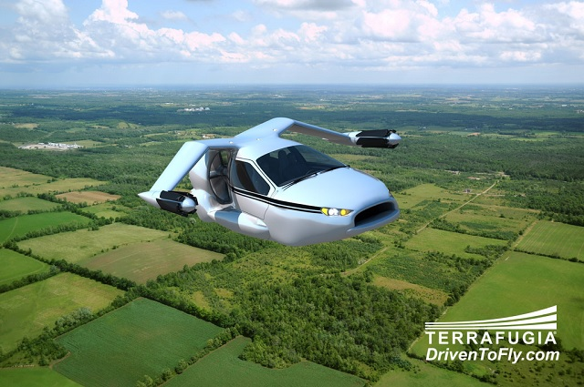 Terrafugia's TF-X is designed with electric-powered rotors that fold like an umbrella at cruising speed. Image courtesy of Terrafugia