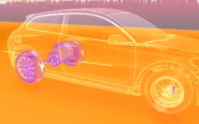 This screen capture from a video by Volvo depicts a cutaway view of the automaker's kinetic energy recovery system that it's testing on an S60 crossover. Image courtesy Volvo